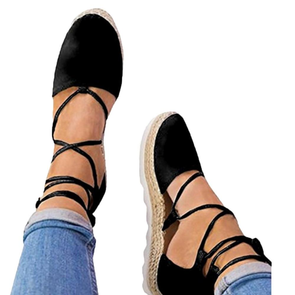 bfac3858aabf Shoes Sagace Womens Flat Lace Up Espadrilles Summer Single Chunky Holiday  Sandals Strap Shallow Woman 2019feb6 Penny Loafers Wedges Shoes From  Deals17