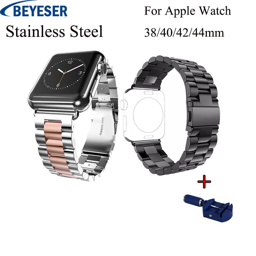 05ca404c5ce Compre Alça Ajustável Para A Apple Watch Banda 40 42 38 44 Mm De Aço  Inoxidável Banda De Ligação Para A Série Iwatch 4 3 2 1 Pulseira De Metal  Wirst De ...