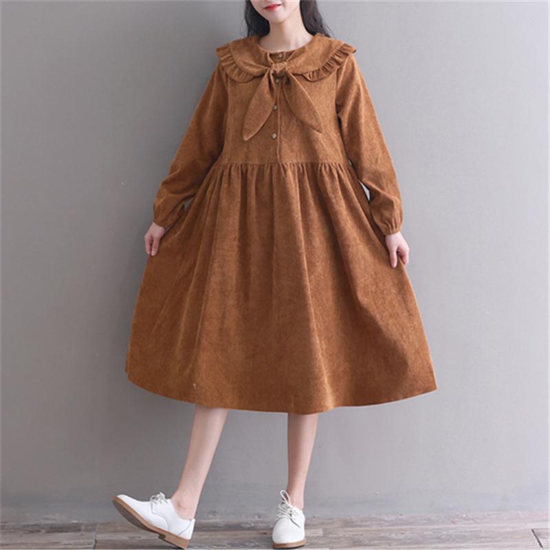 Acquista Mori Girl Vintage Dress 2019 Nuove Donne Autunno Inverno Manica  Lunga Farfalla Collo Lungo Abiti In Velluto A Coste Larghi In Giappone ... 8b8f118955c