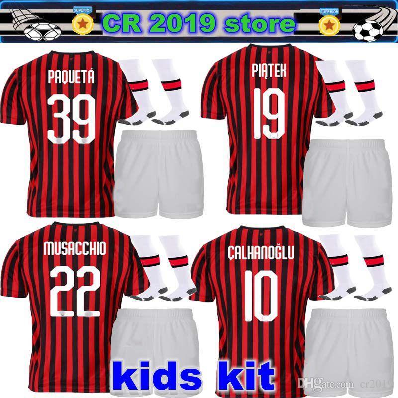 low cost 0606e 180ed AC milan kids kit 19 20 soccer jersey 2019 2020 AC milan PIATEK football  shirt PAQUETA SUSO CALDARA CUTRONE camisa de futebol ROMAGNOL
