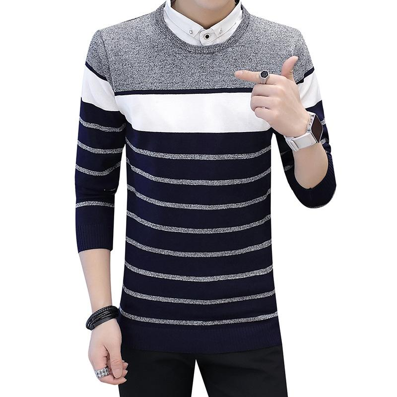 Casual 2019 Classic Simplicity Pullover Turn-down Sweater Men ... 32310f08517f