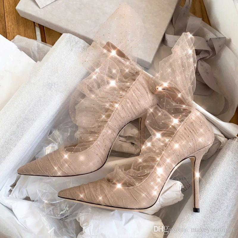 cd26e74cf2f FASHION BEIGE COLOR New Sexy Lace Wedding Shoes Nude Color High Heel  Pointed Toe Women Lady Dress Bride Shoes 599 Cheap Heels Comfort Shoes From  ...