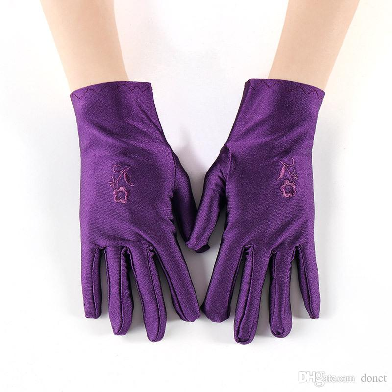 f425319f0d231 2019 Spring Ladies Thin Gloves Short Paragraph Spandex Elastic Dance  Embroidery Flower Glove From Donet, $0.81 | DHgate.Com