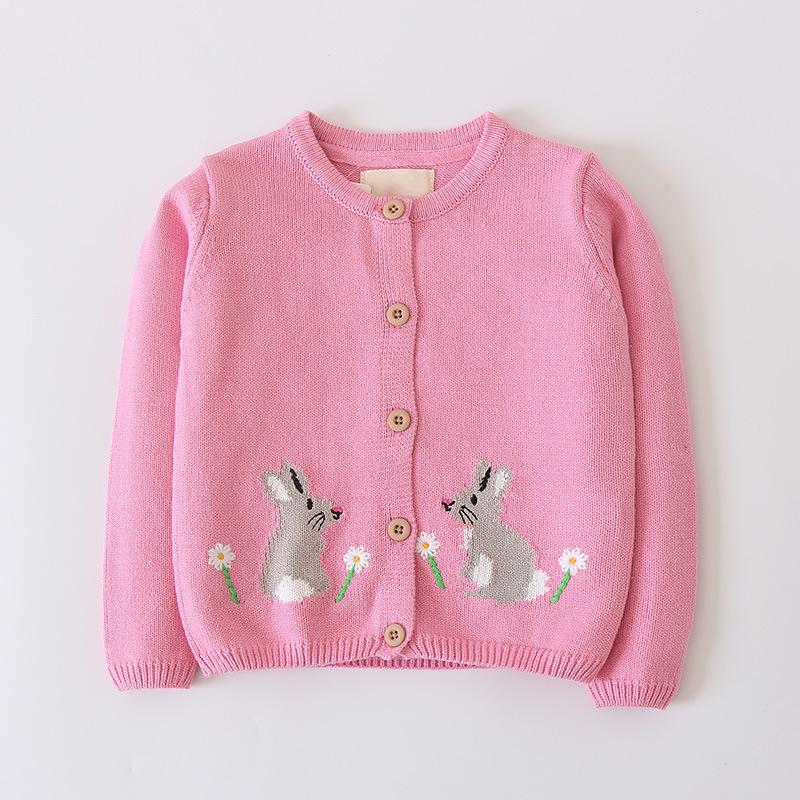 13240adbc Girl S Flower Rabbit Knit Sweater Cardigan Toddler Kids Baby Girls ...