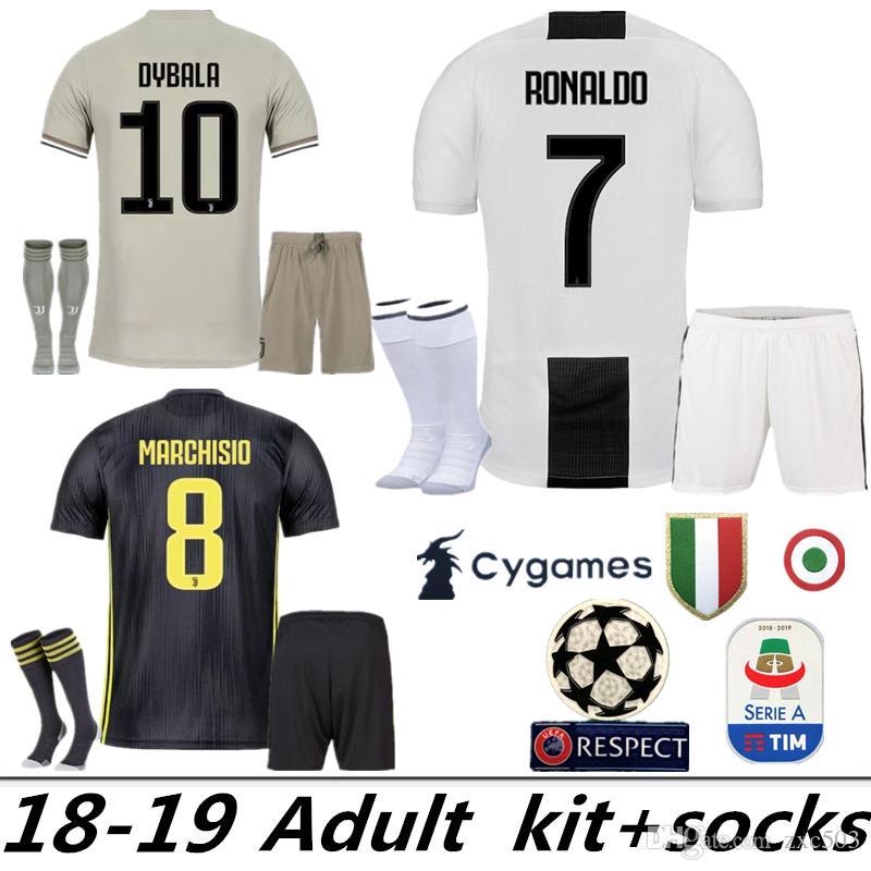 30a72a8ae2f ADUIT 1819 Juventus 7 RONALDO 10 DYBALA Soccer Jersey Kit Juve 9 ...