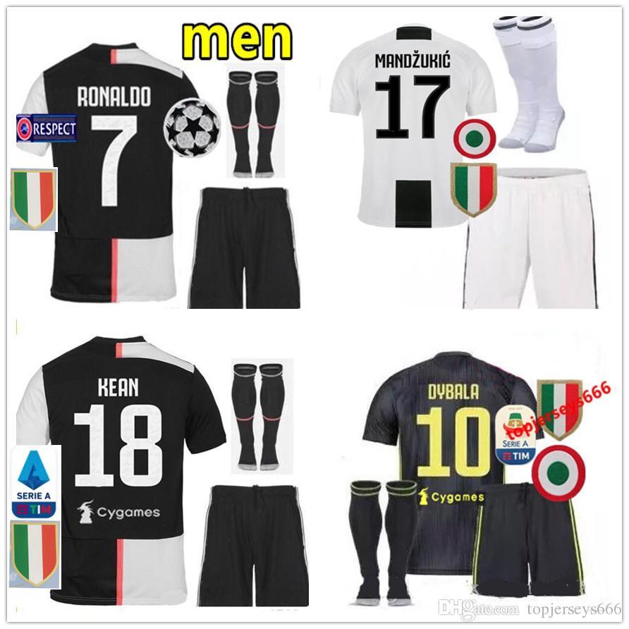 low priced 70d2c c0c95 New 2019 2020 RONALDO Juventus Soccer Jersey kit ADULT KIT DYBALA  BERNARDESCHI MANDZUKIC KEAN 18 19 20 RONALDO Football Shirt