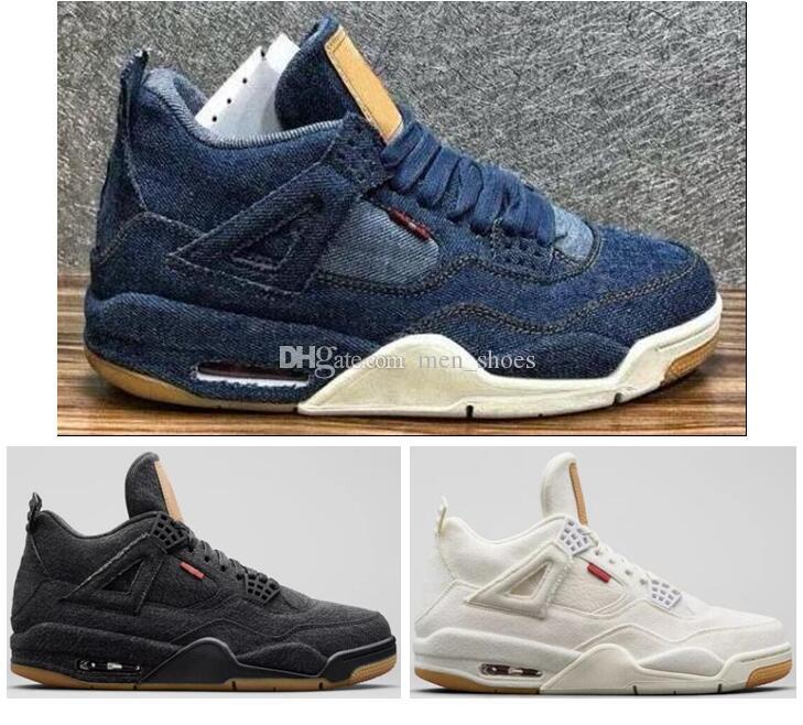 b333cd79d4d29c Acquista Migliori Qualità 4 4s Denim Travis Blue Scarpe Da Basket Uomo Blu  Nero Jeans In Denim Bianco Sport Sneakers Nuovo Con Scatola A $125.16 Dal  ...