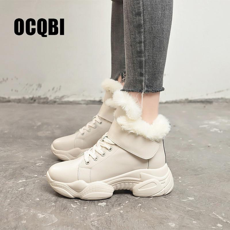 8a2d14583fc Winter Fur Sneakers Platform Woman 2018 Winter High Top Female Casual Shoes  Wedge Lace Up Fashion Warm Snow Waterproof Sneakers Suede Shoes Shoe Sale  From ...