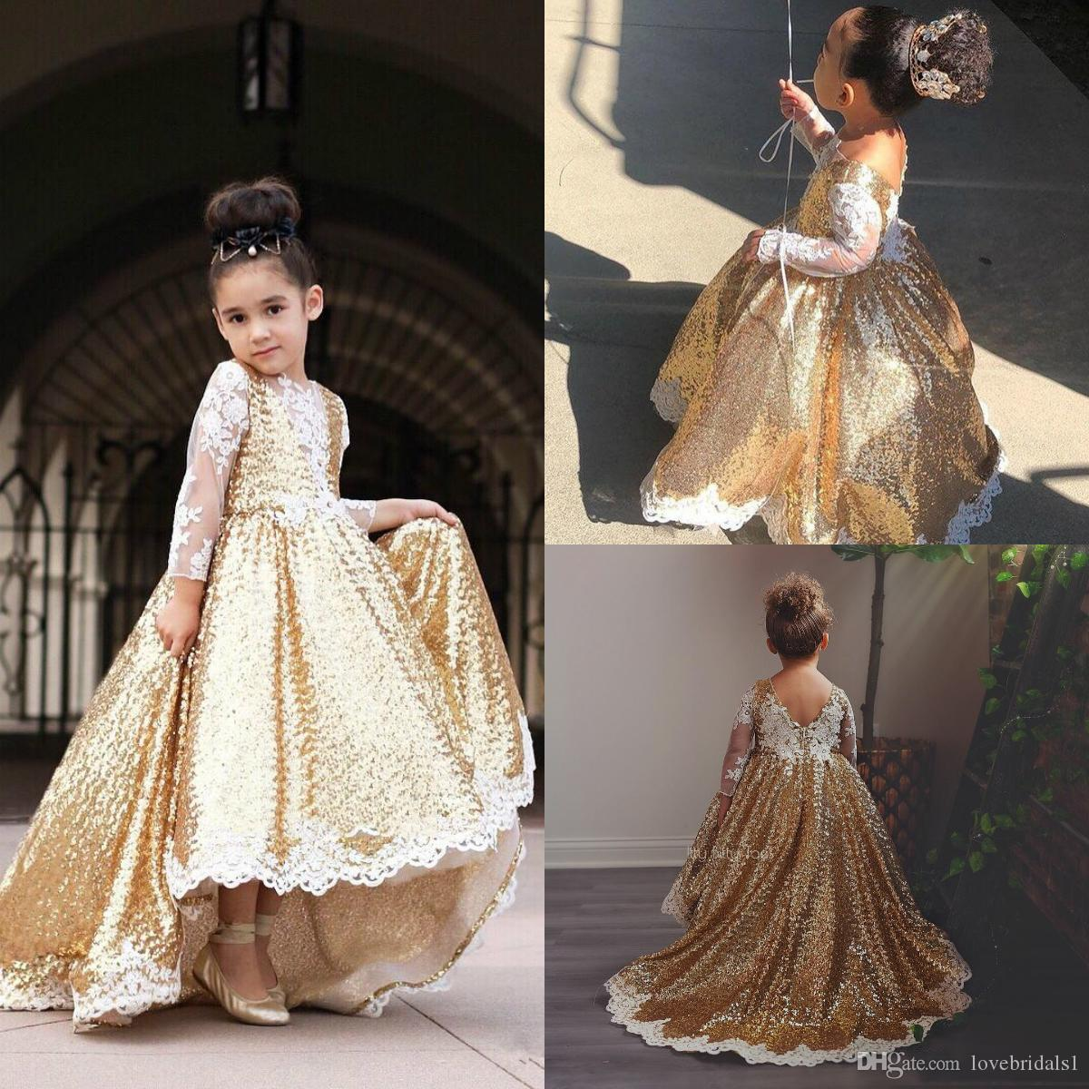 6764452d0ce9 Sparkling Gold Sequined High Low Princess Flowers Girl Dresses With Lace  Long Sleeve Girls Pageant Gowns For Wedding Prom Party Dress Custo Girls  Easter ...