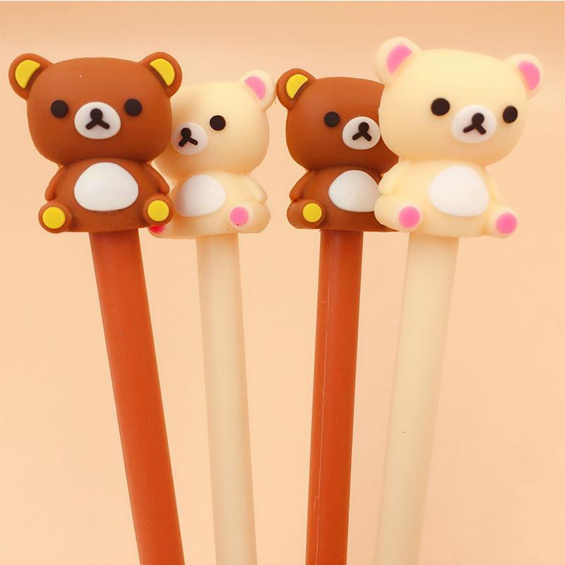 Cute Soft Silicone Rilakkuma Gel Pen Korea Stationery Kawaii Pen for Writing Black Ink 0.5mm Novelty Gifts Office School Supply