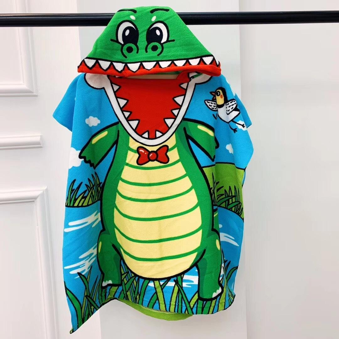 2019 New Children Cute Cartoon Hooded Cloak Beach Towel Animal Printed Microfiber Baby Boys Girls Kids Swimming Bath Towel