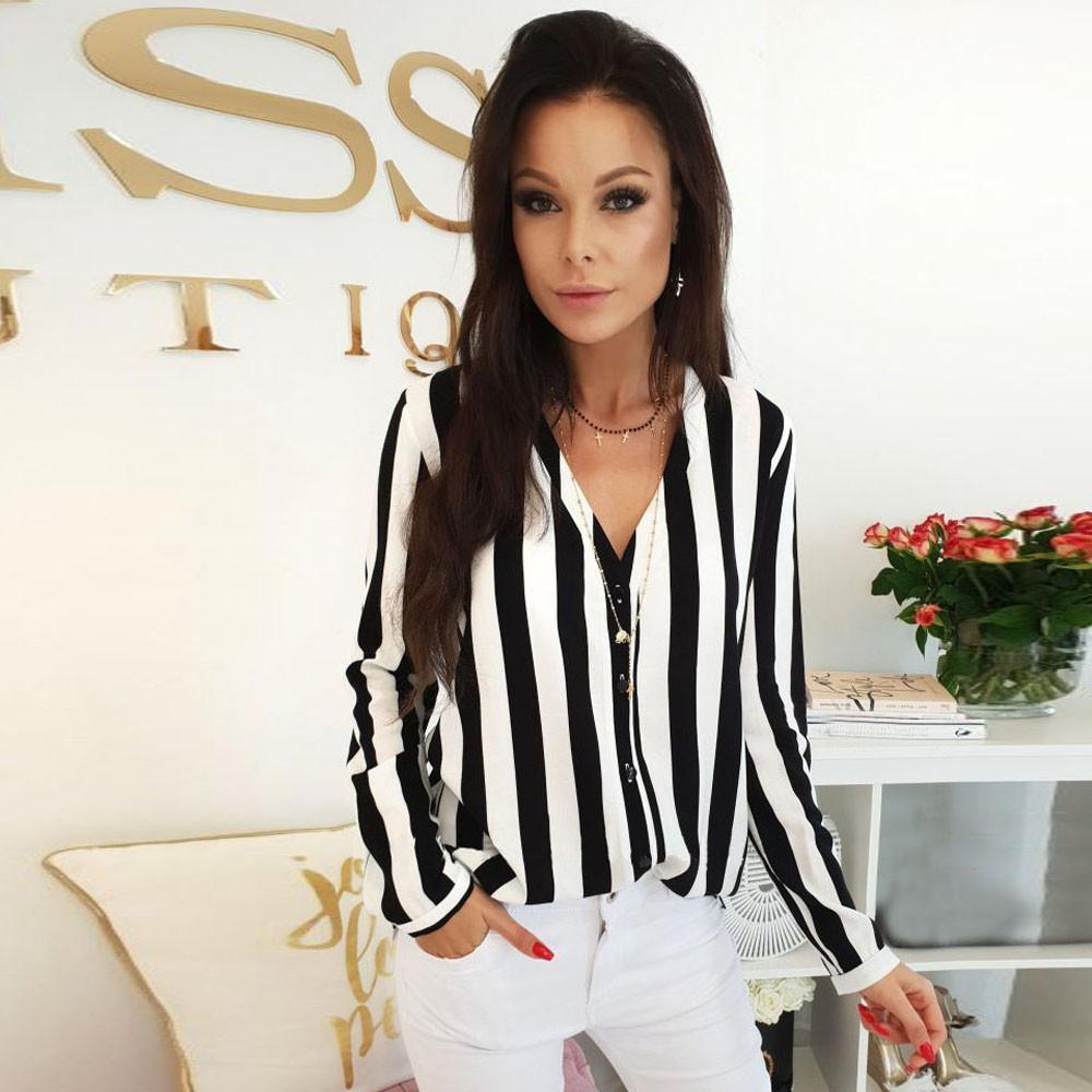 Women Tops Plus Size Long Sleeve V-neck Button Placket Irregular Hem Chiffon Tops Women's Clothing