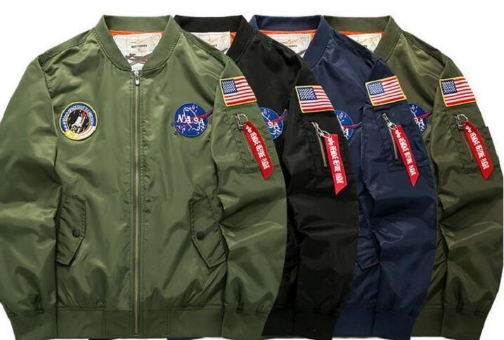 Jacket military style Flight pilot men windbreakers mens overcoat bomber jacket hip hop streetwear NASA ma 1 army jacket