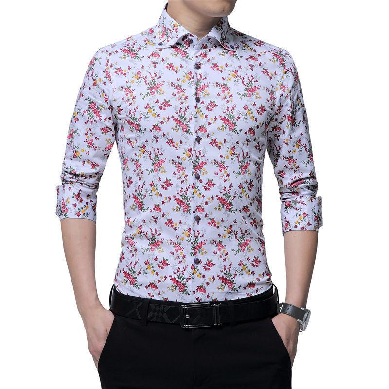 Browon New Design Autumn Mens Floral Shirt Print Party Fashion Long Sleeve  Blouse For Men Camisa Floral Masculina