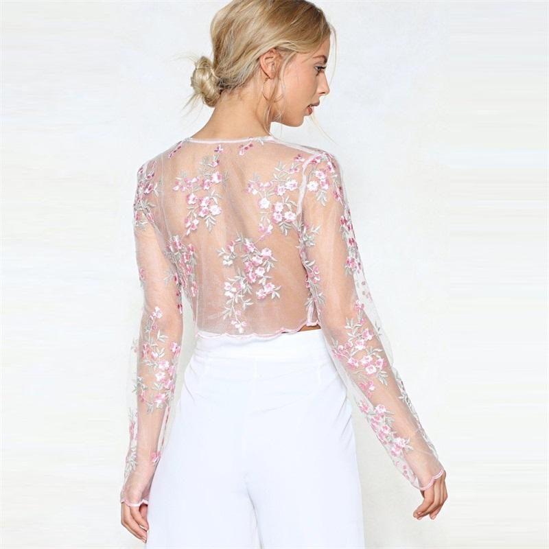 Women Long Sleeve Shirt Blouse Long Sleeve Sexy Summer Clothing Women Floral Embroidery Mesh Sheer See-through
