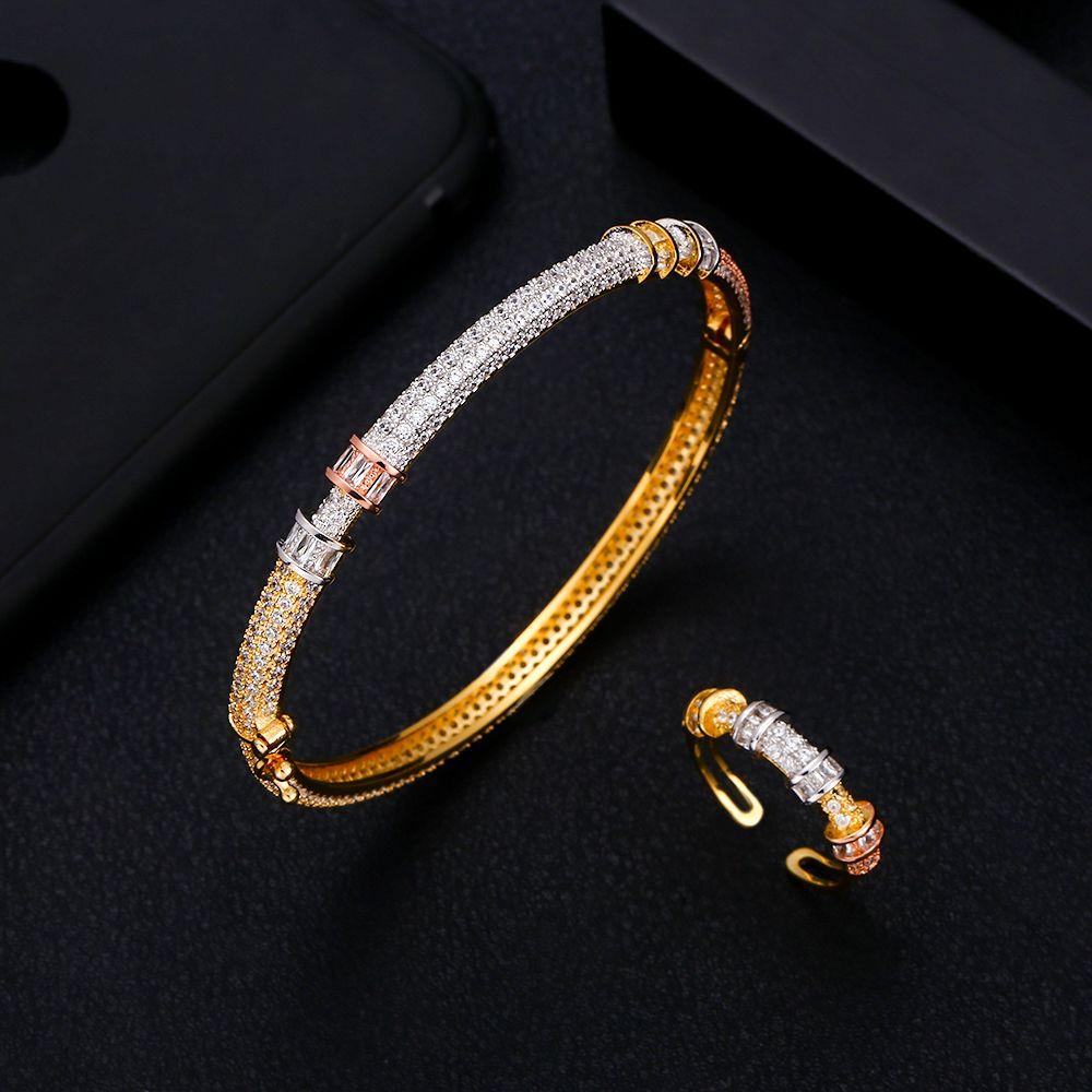 8d15629c26 jankelly Luxury flower Bangle Ring Sets Fashion Dubai Silver Bridal Jewelry  Sets For Women Wedding brincos para as mulheres