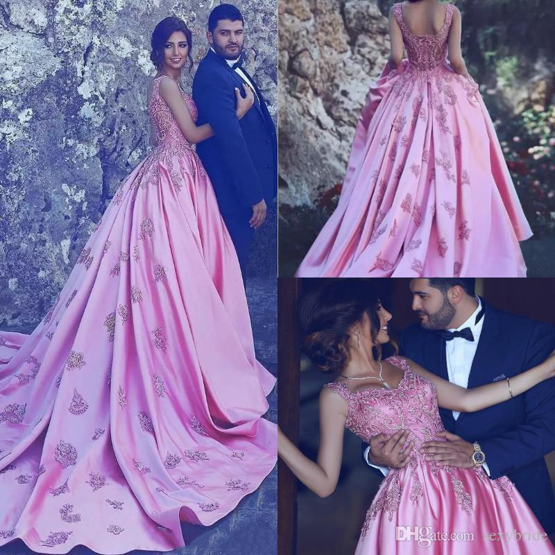 1ebb9e37f19 Elegant Long Arabic Evening Formal Dresses Ball Gown 2018 Sweetheart  Appliques Train Vintage Pink Prom Dresses Plus Size Modest Party Gowns  Cheap Prom Dress ...