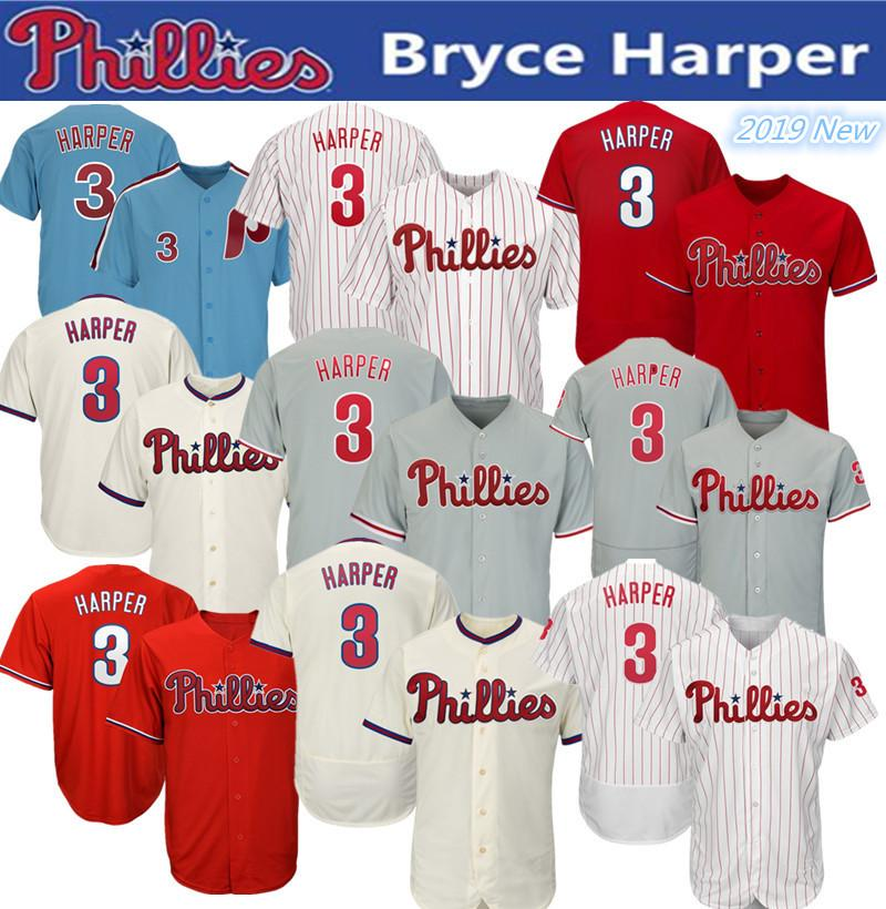 sports shoes dab84 49a02 2019 New Phillies Bryce Harper Jersey white Red Grey Blue men women  Philadelphia baseball jerseys