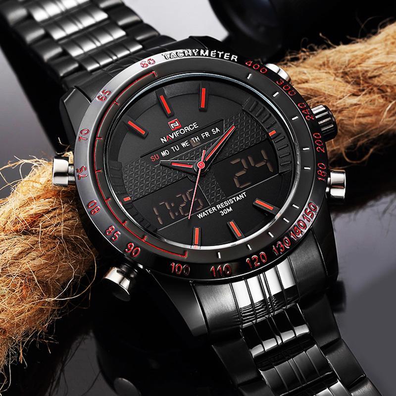 29d68b38cdd Compre Relógios Dos Homens NAVIFORCE Analógico Digital À Prova D  Água Relógio  Homem Mens Relógio De Luxo Em Aço Inoxidável Relógio De Pulso Homens Relogio  ...