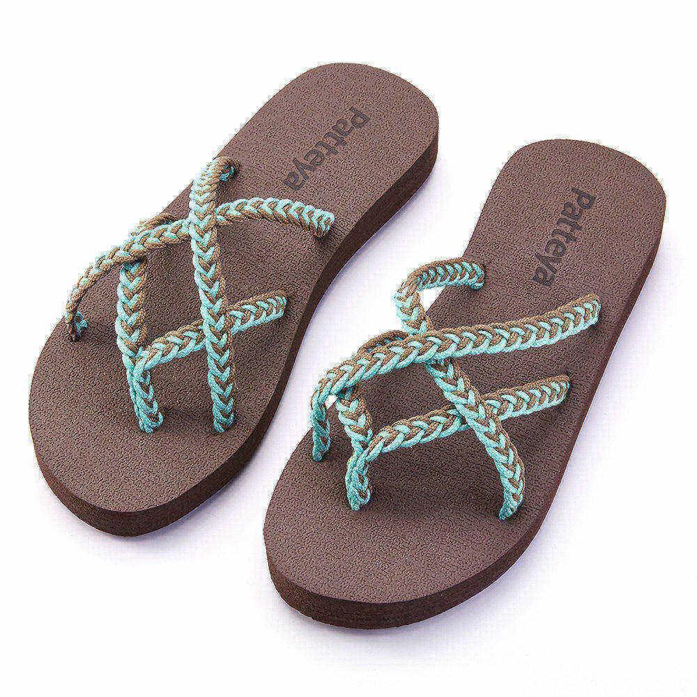 757c6e50be61a Compre Chanclas Para Mujer Sandalias Para Mujer De Playa Trenzadas A Mano  Para Vacaciones De Verano Negro Gris Rojo EE. UU. Envío Gratis A  10.61 Del  ...
