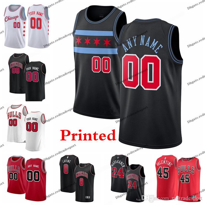47b162f9f11b 2019 2019 Printed Chicago City Bulls 23 Michael Jodan Denzel 45 Valentine  Dunn Zach LaVine Otto Porter Lauri Markkanen Edition Basketball Jersey From  ...