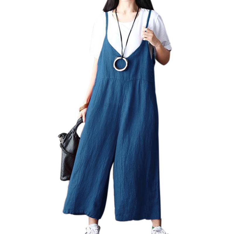 2186ce12c825f 2019 Casual Women Plus Size Suspender Trousers V Neck Wide Leg Jumpsuit  Spaghetti Strap Solid Sleeveless Romper Salopette Femme 2019 From  Illusory02