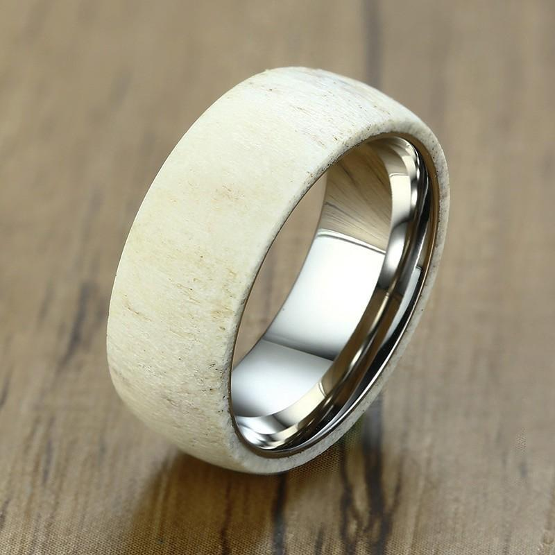 Mens Unique Wedding Bands.Unique Stunning Men S Wedding Band Stainless Steel Men Deer White Antler Dome Ring For Male Jewelry