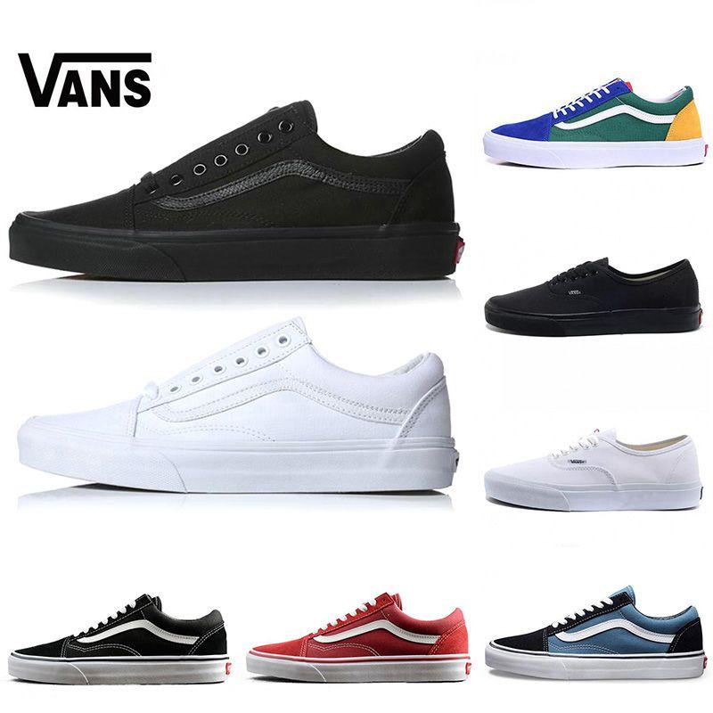 Vans Sneakers Barato Original Antiguo Skool Clásico Hombre Mujer Lienzo  Zapatos Casuales Triple Negro Blanco Marca Skate Calzado Deportivo  Chaussures 35 44 ... c853af898eb