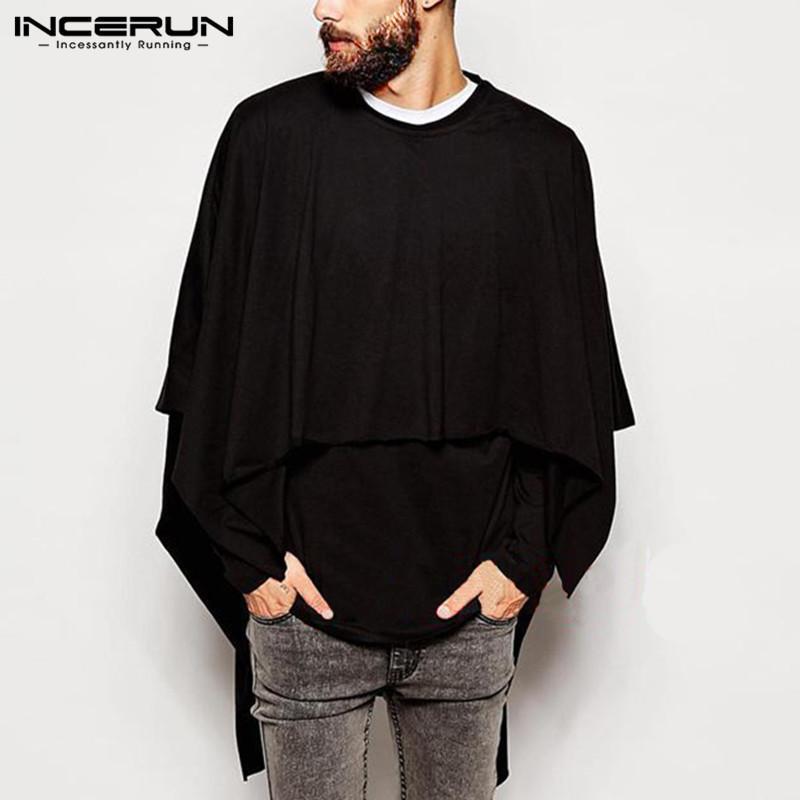 Compre Estilo Gótico Suéteres Sudaderas Hombre Hiphop Bat Sleeve Splicing  Tee Capa Ropa De Moda Slim Fit Mantle Hombre Jumper Poncho A  29.81 Del ... bafb7f02806