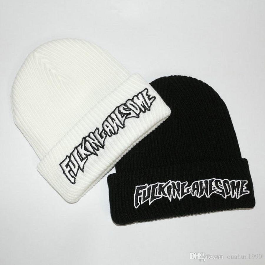 Fucking Awesome Beanies Embroidery Knitted Winter Hats For Women Men Bonnet  Hip Hop Caps Cashmere Skull Harajuku Punk Street Fashion Casual Beanies For  Men ... 657bd2780