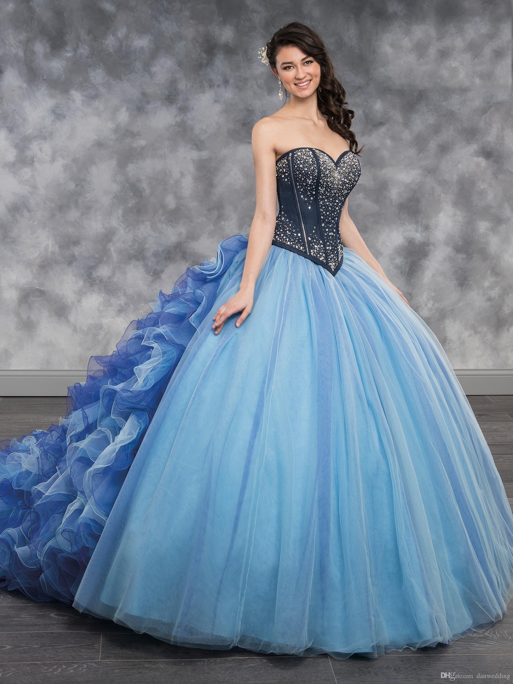 24aa7a12892 Detachable Train Pink Blue Sweetheart Beads Quinceanera Dresses Special  Occasion Party Dresses Dance Prom Dresses Custom Size 2 18 KF101383 Damas  Dresses ...