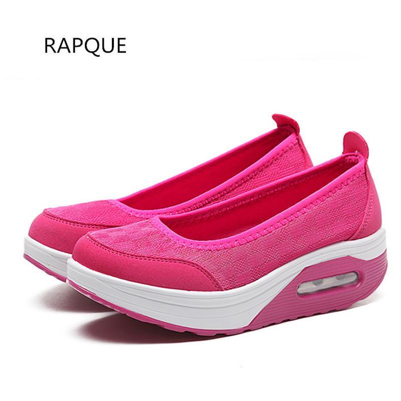 01cb18f2 Compre Zapatos De Vestir Shake Para Las Mujeres Cuñas Bombas Plataforma De  Amortiguador De Tacón Medio Mujer Casual Calzado Para Mujer Caminar Malla  Ligera ...