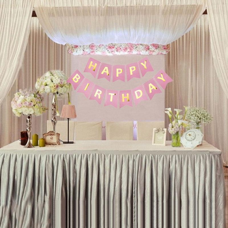 Fashion Happy Birthday Banner Pink Gold Paper Ghirlanda Boy Girl Favor Christening Decorazione Bambini Child Supplies per feste Bunting