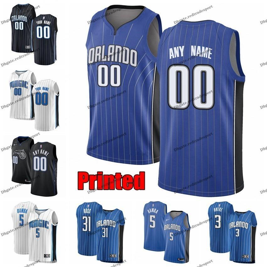 official photos 52c55 7cc35 Printed Orlando Chuma Okeke 3 Magics Aaron Gordon Nikola Vucevic Terrence  Ross Evan Fournier Markelle Fultz Mohamed Bamba Basketball Jersey