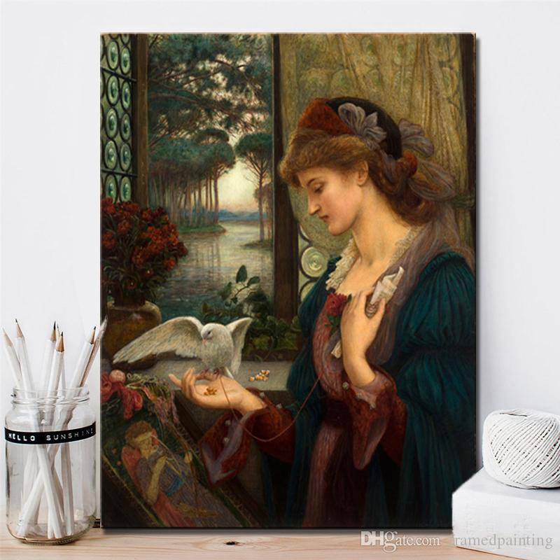 1 Pz Pittore britannico Marie Spartali Stillman Love's Messenger Poster e stampe Wall Art Canvas Painting Home Decor No Frame