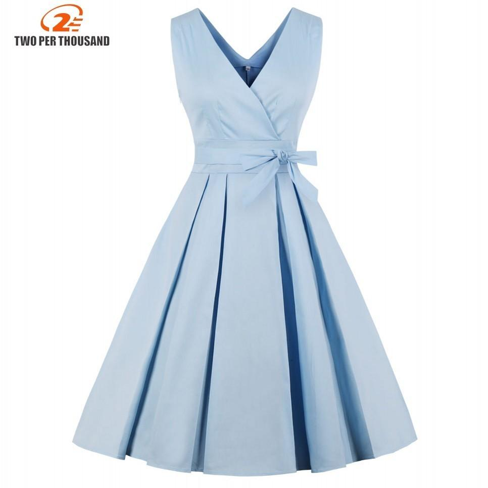 115d9d4aa62 2019 Light Blue Red Pleated Plain Vintage Dress Women 2018 Sexy V Neck  Party Dress Elegant Retro Summer Cotton Dresses Y190425 From Jinmei03, ...