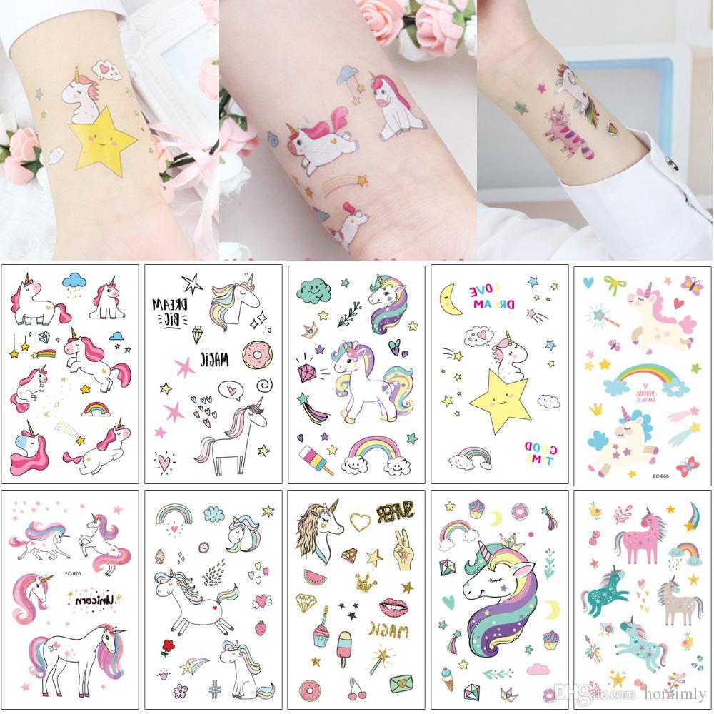 1f24a6042e150 Waterproof Temporary Unicorn Horse Tattoo Fake Cartoon Cute Kid Body Art  Makeup Tattoos Sticker Star Rainbow Diamond Butterfly Decal Designs Long  Lasting ...