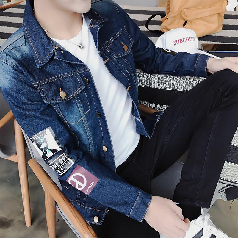 promo code 85acf d0c9b Moda Uomo Jean Bomber Giacca di jeans Uomo Stampa Zipper Jean Giacca Moda  Tuta Casual Cappotto Hip Hop Jeans Streetwear