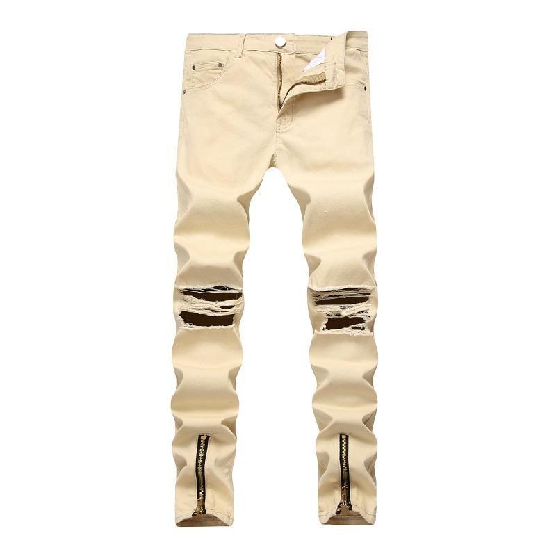 Hi-Street Men s Jeans Pencil Jeans Pants Washed Broken Hole On Knee ... 7fd778c91ff1