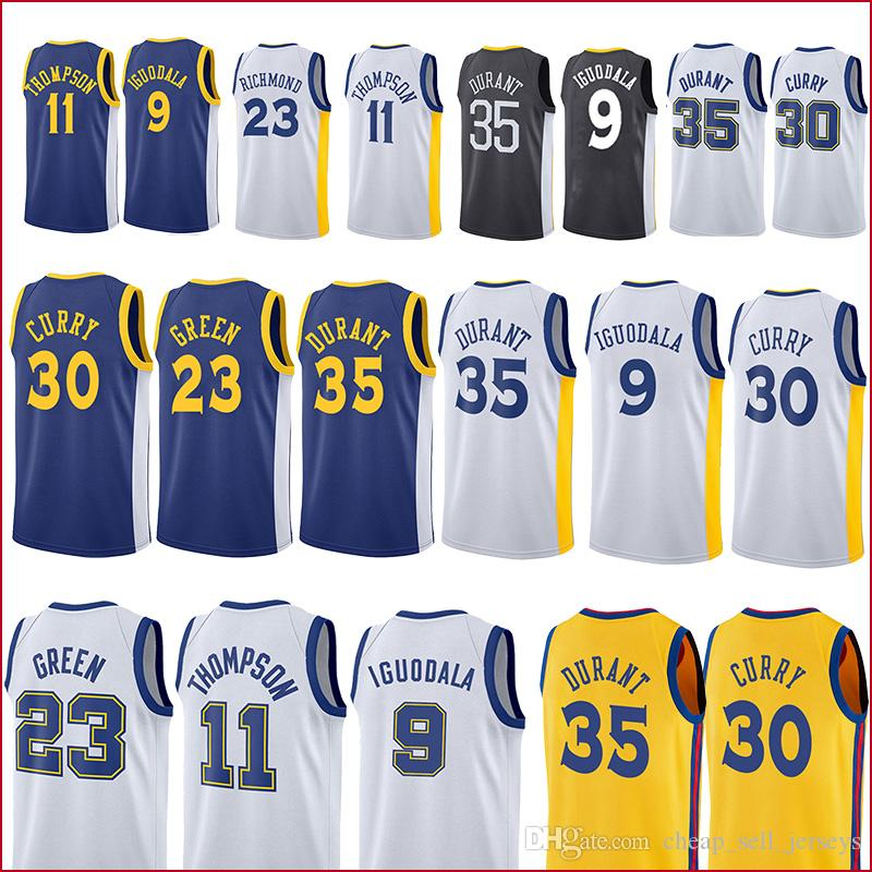 85811cb41cd 2019 Golden 35 Durant State Warriors Jersey 30 Curry 9 Lguodala 23 Green 11  Thompson Basketball Jerseys Men From Cheap sell jerseys