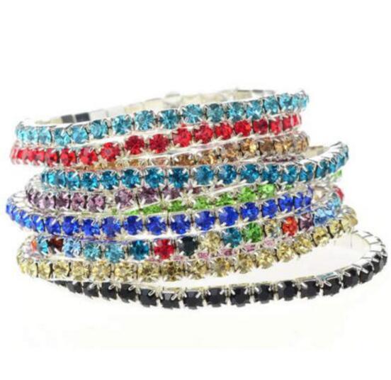 ce84ad944a9 2019 1 Row Crystal Bangles Stretched Elastic Strand Wrist Rhinestone Wristband  Cuff Bracelets Women Wedding Party BFF Friendship Shining Jewelry From ...