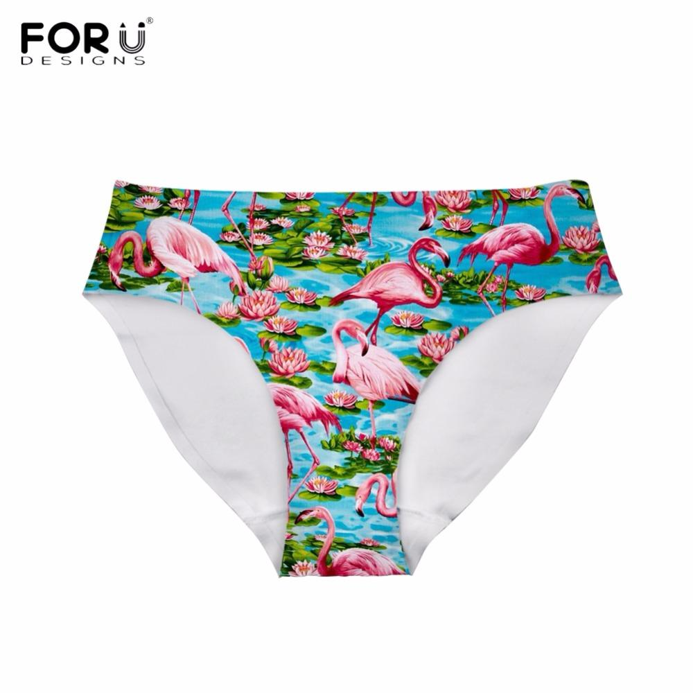 FORUDESIGNS Cute Cartoon Animal Flamingo Print Women Panties Bodybuilding Traceless Underwear Fashion Brand Teens Girls Lingerie
