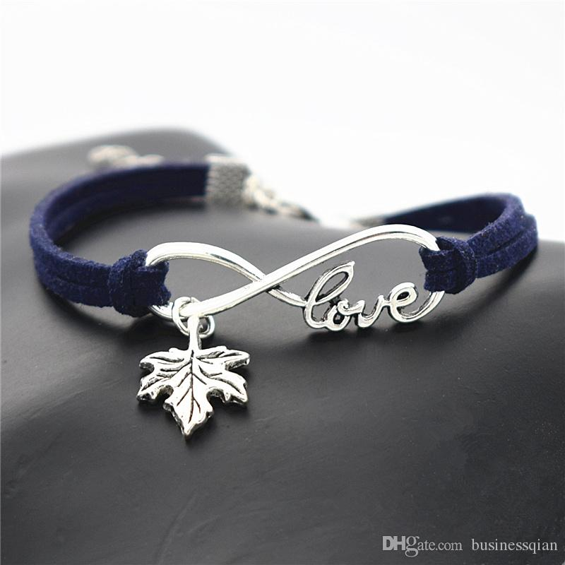 New Designer Dark Navy Leather Rope Cuff Charm Bracelets Trendy Native American Infinity Love Plant Tree Leaves Maple Leaf Men Women Jewelry