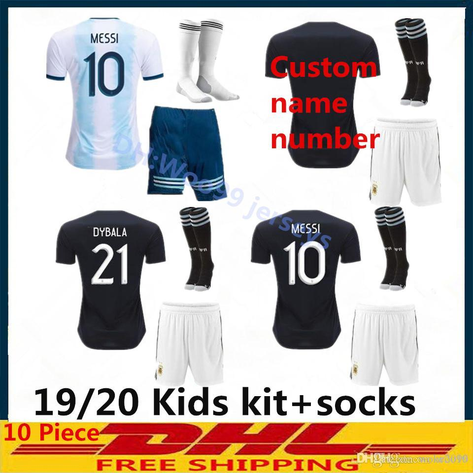c23d3d1a005 2019 2020 Argentina men kids kit+sock soccer jersey 2020 child KITS 19 20  MESSI DYBALA MARADONA AGUERO DI MARIA HIGUAIN football shirts