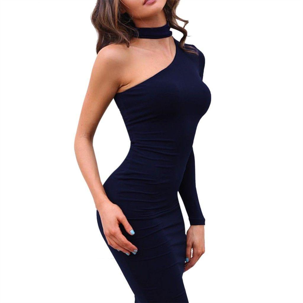 7f69f29fb484 Acquista Feitong 2019 Night Club Party Donna Sexy Tinta Unita Stretto Maniche  Lunghe Spalle Collant Vestito Slim Abiti Eleganti Royal A  34.02 Dal ...
