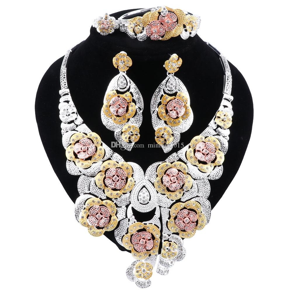 New Indian Bridal Jewelry Set for Women Gold-color Necklace Earrings Bracelet Ring Party Jewellry Sets Gift