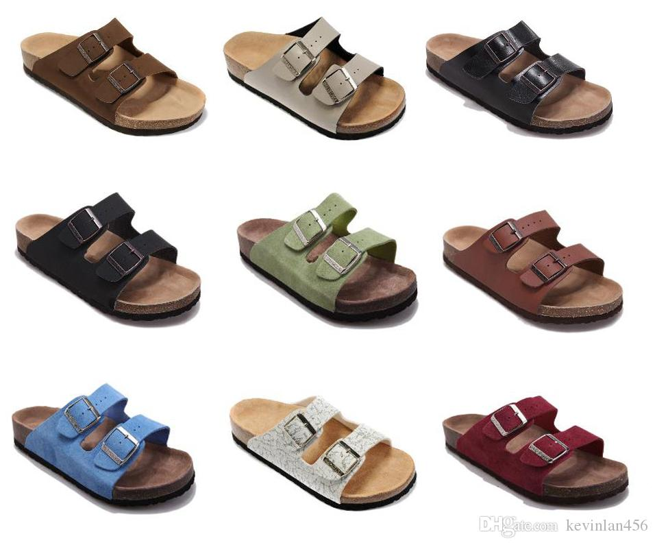 ee7e234ff Male Flat Sandals Women Double Buckle Shoes Male Summer Beach Shoes Top  Quality Comfortable Genuine Leather Slippers Summer Shoes Arizona Black  Boots For ...