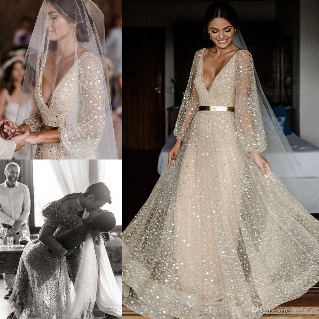 Boho Champagne Wedding Dresses V Neck Long Sleeves Sequined Bridal Gowns  Floor Length Plus Size Beach Bohemian Wedding Dress