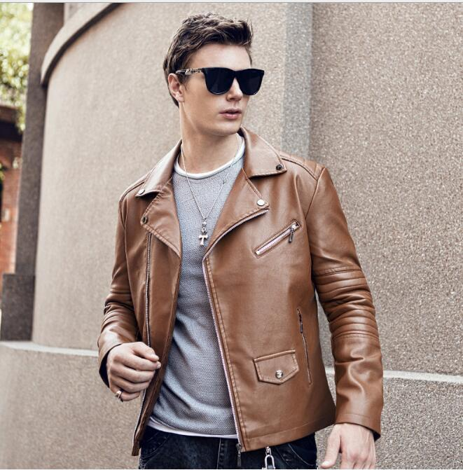 M-XXXL 2019 new male Korean version of the slim motorcycle leather jacket personality tide men's lapel short leather jackets