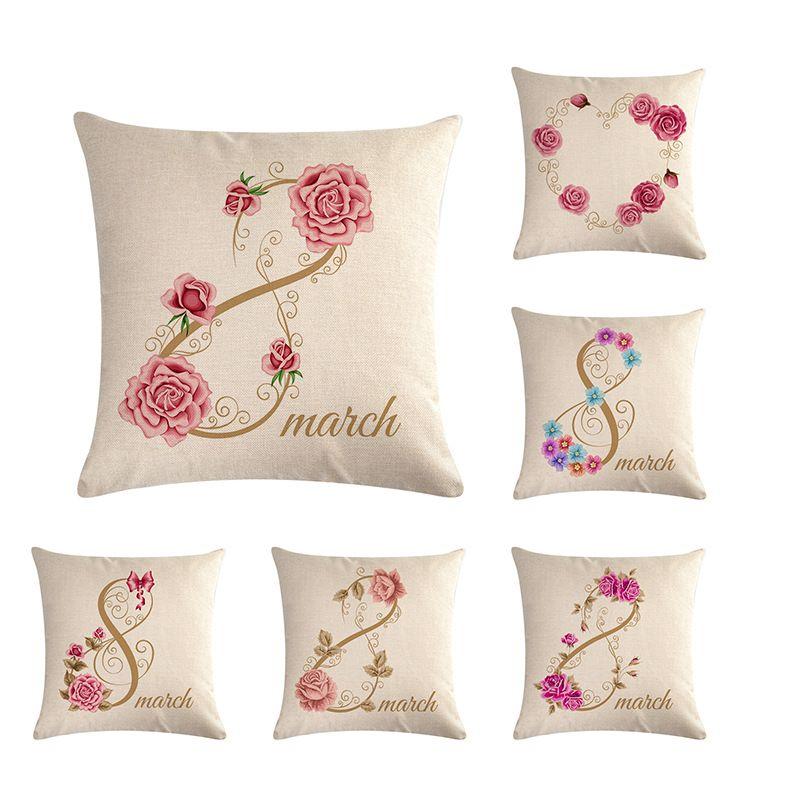 "18/"" Linen Flowers Letters Pillow Case Sofa Waist Throw Cushion Cover Home Decor."